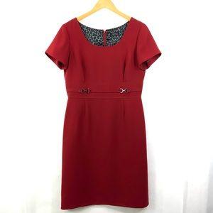 TAHARI Arthur S. Levine Red Short Sleeve Round Scoop Neck Dress Size 10